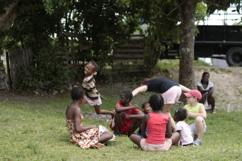Playing with Jamaican kids