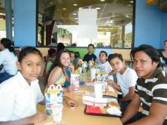 The sponsor kids enjoying their McDonalds meals