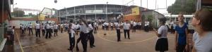 Nicaraguan kids playing on the basketball court at Rey Solomon
