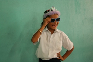 A Nicaraguan girl all dressed up for her photo booth picture!