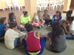 One of the girls group discussions during the college retreat.