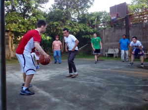 Playing sports during the college retreat.
