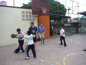 Playing basketball in the courtyard of Rey Salomon